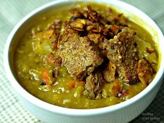 <p>In this recipe, split peas and potatoes are cooked in a savory broth, then served with crunchy homemade croutons and smoky coconut bacon.</p>