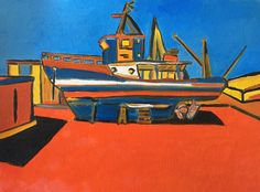 The old fishing boat. Oil on paper  #art #contemporaryart #modernart #artist #paintings #oilpaintings #Pinterest #red #colors #idea