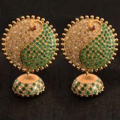 Buy online Jhumkas Earrings - Ahalya emerald & diamond jhumkas from Parisera Pakistani Jewelry, Indian Wedding Jewelry, Bridal Jewelry, 14k Gold Jewelry, Gold Jewellery Design, Diamond Jewelry, Lotus Jewelry, Diamond Rings, Indian Earrings