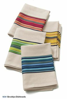 Kitchen Linens: Dish Towels and Aprons Kitchen Linens, Kitchen Towels, Dish Towels, Tea Towels, Loom Weaving, Hand Weaving, Yellow Cottage, Striped Towels, Weaving Projects
