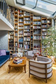 Impressive Home Library Design Ideas Advanced mountain home library hours just on popi home design Home Library Rooms, Home Library Design, Home Libraries, Public Libraries, Reading Room Decor, Floor To Ceiling Bookshelves, Trendy Home, Large Homes, Book Nooks