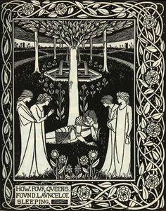 From La Morte D'arthur: How four queens found Launcelot sleeping. Illustrations by Aubrey Beardsley.
