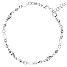 """Fancy Link With Faceted Beads Chain Anklet In Sterling Silver, 10"""""""