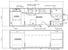 Escape Traveler - Tiny House on Wheels - Kelly Davis - Dan George Dobrowolski - Floor Plan - Humble Homes