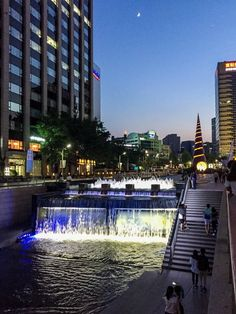 Seoul, Seoul, South Korea - Cheonggyecheon Stream is 5.8-km...
