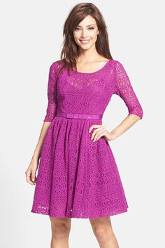 Tracy Reese 'Estella' Lace Fit & Flare Dress (Regular & Petite)
