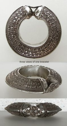 Magnificent large bracelet typical of the intricate work of the Jewish silversmiths who moved across North Africa and into Yemen.  | The silver bracelet is hollow and covered with granulation, twisted wired, cut-outs