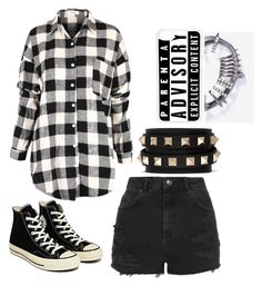 """Tbh//pwetty plaid"" by lexiehippiegirl ❤ liked on Polyvore featuring Topshop, Converse, Valentino and CellPowerCases"