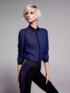 MANGO - Contrasted chiffon shirt