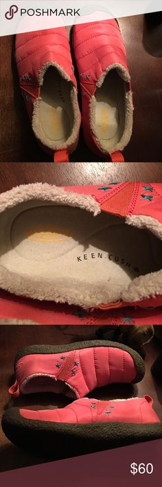 Shoes Peach colored slip ons with aqua cross design soft cream colored lining elastic side accents grey bottom NWOT Keen Shoes Flats & Loafers