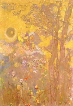 The Athenaeum - Tree on Yellow Background (Odilon Redon - )