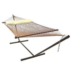 Brown Polyester Rope Hammock with Pillow Combo