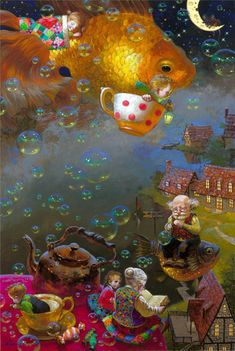 Victor Nizovtsev is a masterful oil painter of theatrical figurative composition, fantasy, landscapes, and still life. ~ love this whimsical tea party Art And Illustration, Book Illustrations, Fantasy Kunst, Fantasy Art, Fantasy Landscape, Landscape Art, Fantasy Posters, Victor Nizovtsev, Art Fantaisiste