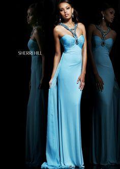 Sherri Hill 11071 - Aqua Beaded Jersey Prom Dresses Online #thepromdresses