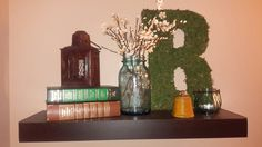 Decorated shelf antique inkwell (my grandmothers) old books scored at book sale. Ball jar flea market 6
