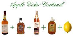Apple Cider Cocktail - apple cider, apple brandy, regular brandy, maple syrup, lemon juice