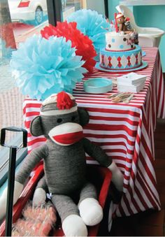 Sock monkey first birthday! Nico and Lala design custom children's birthday invitations and swag just for you! Fill out an online form and we will bring your custom birthday to life! Monkey First Birthday, Monkey Birthday Parties, Baby Birthday, Birthday Ideas, Birthday Table, Sock Monkey Baby, First Birthdays, Sock Monkeys, Party Ideas