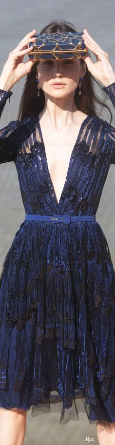 Elie Saab Couture, Resort Wear, Fashion Sketches, Midnight Blue, Shades Of Blue, Ready To Wear, Party Dress, Formal Dresses, Elegant