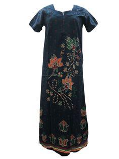 Long Maxi Dress Sleepwear Cotton Nightgown Blue Nighty