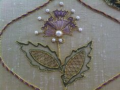 Embroidery Motifs, Silk Ribbon Embroidery, Hand Embroidery Designs, Embroidery Applique, Cross Stitch Embroidery, Lesage, Gold Work, Fabric Beads, Embroidery Techniques