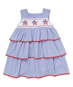 Another great find on #zulily! Blue Star Smocked Tiered Dress - Infant, Toddler & Girls #zulilyfinds