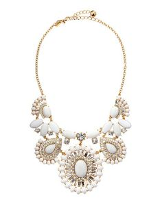 Capri garden necklace, white by kate spade new york at Neiman Marcus. 12K gold plate. Faceted glass crystals and polished white enamel cabochons.