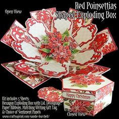 Red Poinsettias Shaped Exploding Box