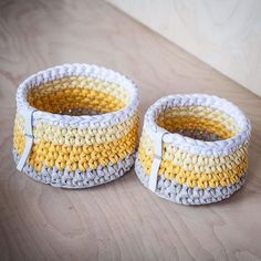 New set of storage baskets with yellow gradient. Visit our etsy shop now and don't forget to use 15% discount code FALL15⠀ Новый набор корзин с жёлтым градиентном! Туше, дождливая погода! ☔️⠀ #knitknotkiev #crochet #zpagetti #trapillo #tshirtyarn #zpagettiyarn #handmade #madeinukraine #basket #baskets #storagebasket #storagebaskets #crochetbasket #crochetbaskets #knit #knitting #вязание #трикотажнаяпряжа #корзина #киев #київ