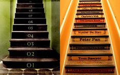 Interior Design Stair Riser Decor Ideas Staircase Ideas Creative Ways To Add Style Book Staircase, Staircase Design, Staircase Ideas, Bookcase Stairs, Stair Idea, Stair Design, Railing Ideas, Number The Stars, Image Deco