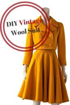 DIY Vintage Suit Sewing Tutorial, Free sewing tutorial, Vintage jacket, Vintage skirt suit, DIY vintage clothes, free vintage skirt tutorial #freesewingtutorial #vintageskirt