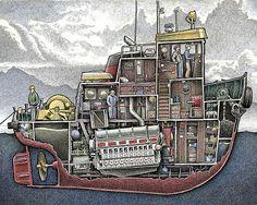 Boat Drawing, Ship Drawing, Wood Boat Plans, Boat Building Plans, Fairbanks Morse, Boat Illustration, Marine Engineering, Vintage Boats, Ship Paintings