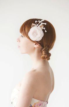 Wedding, Bridal Fascinator, Head Piece, Floral Hair Piece, Hair Flower, Pale Pink - Autumn Blush