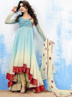 Buy Sky Blue And Off White Shaded Georgette Anarkali Suit online, Color: Sky Blue,Off White,Category:Salwar Kameez, Fabric: Faux Georgette White Anarkali, Anarkali Dress, Anarkali Suits, Indian Attire, Indian Wear, Indian Outfits, Indian Style, Buy Dress, Dress Up