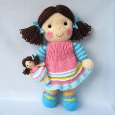 MAISIE and her little doll - toy dolly - PDF knitting pattern l