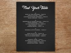 Help your wedding guests find their tables with this charming retro chalkboard style seating chart template. Incredibly easy to use. Just download the PDF, enter your wedding seating text and print! Printable Wedding Programs, Wedding Invitation Sets, Seating Chart Template, Wedding Seating, Response Cards, Print And Cut, Diy Wedding, Chalkboard, Finding Yourself