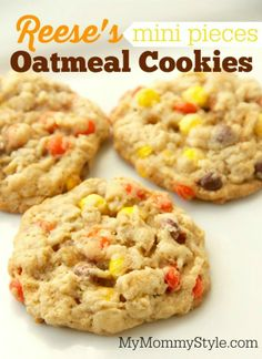 A soft chewy oatmeal cookie with Reese's mini pieces inside. Find Reese's mini pieces in the baking aisle next to the chocolate chips. Cookie Desserts, Just Desserts, Cookie Recipes, Delicious Desserts, Dessert Recipes, Yummy Food, Cooking Cookies, Gourmet Desserts, Brownie Recipes