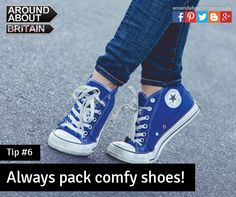 Always pack comfortable shoes! Trainers. Flat shoes. Converse. Staycation. Travel. Holiday. Britain. UK.