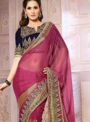 Beauty and Cuteness come together in this beautiful wine faux chiffon saree. Saree features pretty embroidery along with strip designs and patch border work creates enthralling look. Maximum Bust Size - 42 Inches. NOTE: Color may slightly vary due to digital photography Length: 6.3 meters Including 85 c.m. blouse fabric Wash care: Dry Wash Only