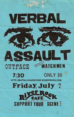 Verbal Assault, Outface punk hardcore flyer