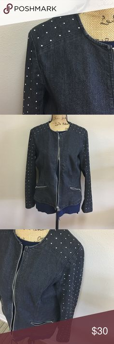 RUBY RD Jacket Studded on the shoulder all the way down to the sleeve. Lightweight denim in a dark wash. Very sexy and gives a bit of a hard core biker chic feel when you are wearing it. Ruby Rd Jackets & Coats