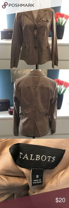 Talbots lightweight Camel Blazer 38 inch bust 24 inches long. ❤️Take a look at our entire store  ❤️ We ship within 24 hours  ❤️100% customer satisfaction rating  ❤️Customer service always here to help  ❤️Send us offers, we love Bundles also. ❤️We are an Online Clothing Company  Thanks for shopping at DuttyKangaroo. You are appreciated! Talbots Jackets & Coats Blazers