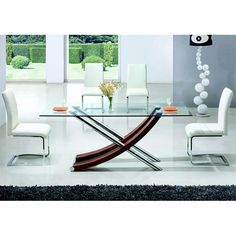 Xena Walnut Clear Glass Dining Table And 4 Dining Chairs - Buy Glass Dining Table With 4 Chairs, Furniture In Fashion