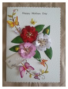 3D Decoupage Mothers day card with butterflies & ladybird bugs, with gold glass pearls in the centre of the flowers.