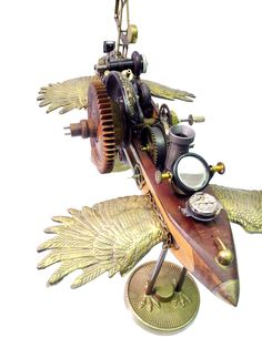 """""""Leonardo"""" (detail) found object flying machine assemblage by Assemblique™"""