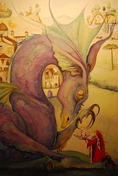 detail of dragon eating fairy cakes from Tell me a dragon by Jackie Morris