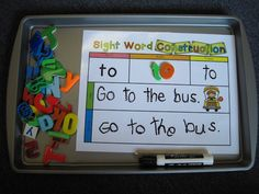 The kids will read the word, make the word with magnets, trace it, use it in a sentence by tracing the sentence, and then either copy the se...