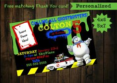 Ghostbusters Invitations - printable- ghostbusters birthday invitation by PurplePalaceDesigns on Etsy