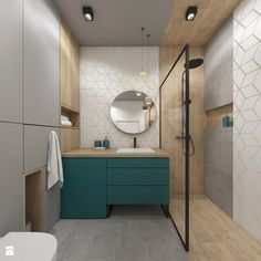 Love the teal colour Bathroom Spa, Family Bathroom, Grey Bathrooms, Modern Bathroom, Small Bathroom, Beautiful Interior Design, Bathroom Interior Design, Bathroom Styling, Bad Styling