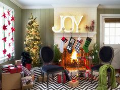 Decorate the Mantel in Take a Video Tour of HGTV's Holiday House from HGTV