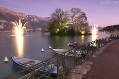 Winter dusk on Annecy lake.